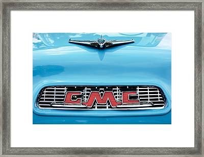1956 Gmc 100 Deluxe Edition Pickup Truck Hood Ornament - Grille Emblem Framed Print by Jill Reger