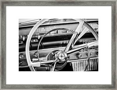 1956 Lincoln Premiere Steering Wheel -0838bw Framed Print by Jill Reger