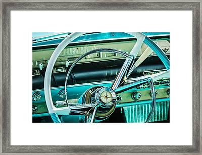 1956 Lincoln Premiere Steering Wheel -0838c Framed Print by Jill Reger