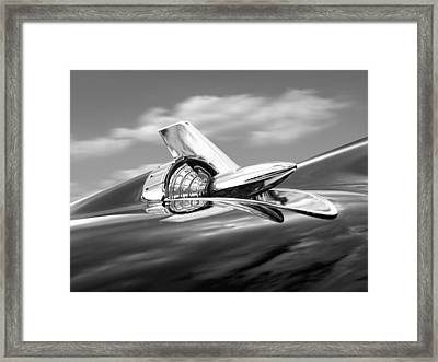 1957 Chevy Bel Air Hood Ornament In Black And White Framed Print by Gill Billington