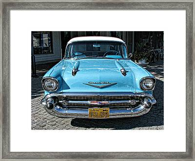 1957 Chevy Bel Air In Turquoise Framed Print by Samuel Sheats