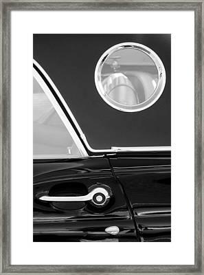 1957 Ford Thunderbird Window Black And White Framed Print by Jill Reger