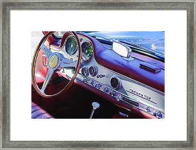 1957 Mercedes-benz 300 Sl Gullwing Steering Wheel Emblem Framed Print by Jill Reger