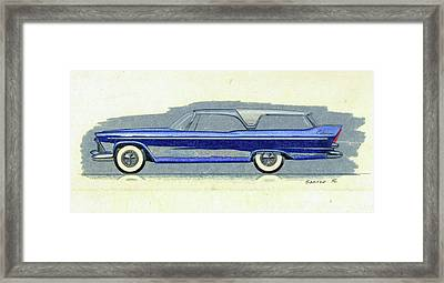 1957 Plymouth Cabana  Station Wagon Styling Design Concept Sketch Framed Print by John Samsen