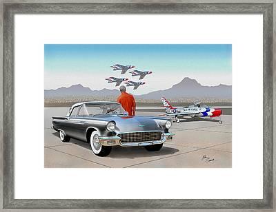 1957 Thunderbird  With F-84 Gunmetal Vintage Ford Classic Art Sketch Rendering           Framed Print by John Samsen