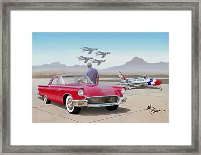 1957 Thunderbird  With F-84 Thunderbirds  Red  Classic Ford Vintage Art Sketch Rendering         Framed Print by John Samsen