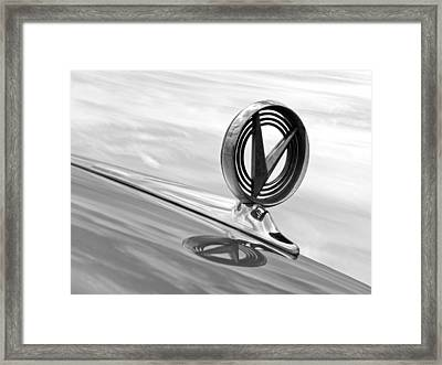 1958 Buick Roadmaster 75 Hood Ornament Black And White Framed Print by Gill Billington