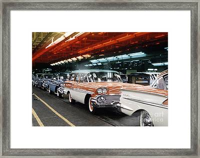 1958 Chevrolet Automobile Assembly Line Framed Print by The Phillip Harrington Collection