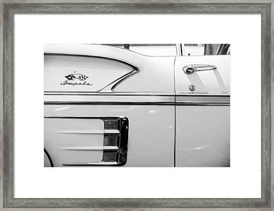 1958 Chevrolet Belair Impala Convertible Side Emblem -0615bw Framed Print by Jill Reger