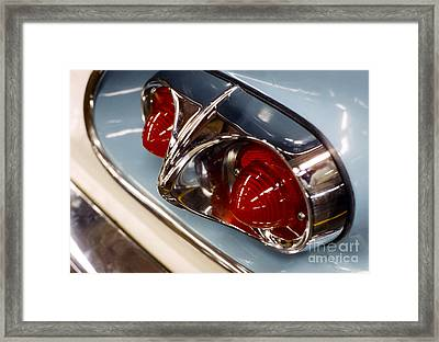1958 Chevrolet Taillight In Baby Blue And Chrome Framed Print by The Phillip Harrington Collection