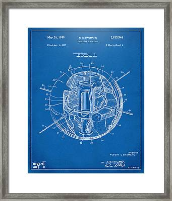 1958 Space Satellite Structure Patent Blueprint Framed Print by Nikki Marie Smith