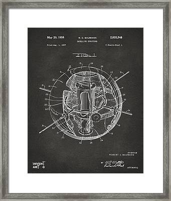 1958 Space Satellite Structure Patent Gray Framed Print by Nikki Marie Smith