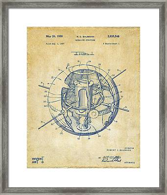 1958 Space Satellite Structure Patent Vintage Framed Print by Nikki Marie Smith