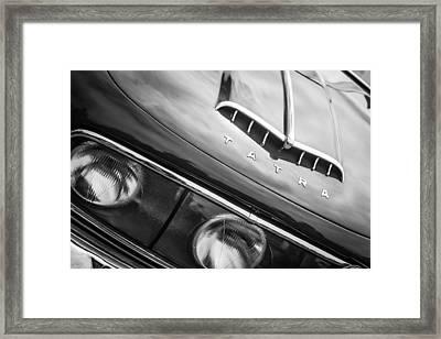 1958 Tatra T603 Aerodynamic Saloon Grille Emblem -0144bw Framed Print by Jill Reger