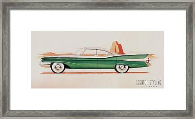 1959 Desoto  Classic Car Concept Design Concept Rendering Sketch Framed Print by John Samsen