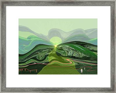 196 - Mountain-morning   Framed Print by Irmgard Schoendorf Welch