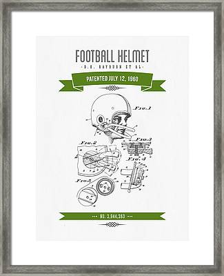 1960 Football Helmet Patent Drawing - Retro Green Framed Print by Aged Pixel