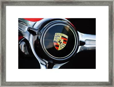 1960 Porsche 356 B Roadster Steering Wheel Emblem Framed Print by Jill Reger