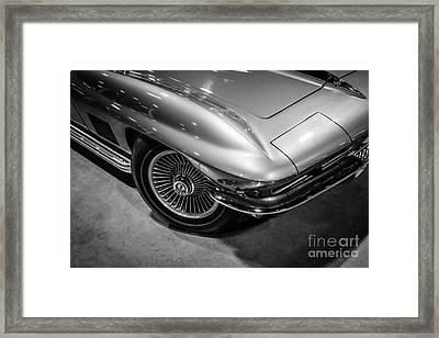 1960's Corvette C2 In Black And White Framed Print by Paul Velgos