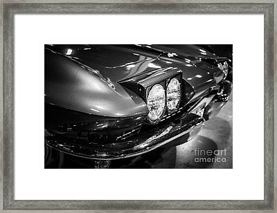 1960's Corvette In Black And White Framed Print by Paul Velgos