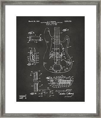 1961 Fender Guitar Patent Artwork - Gray Framed Print by Nikki Marie Smith