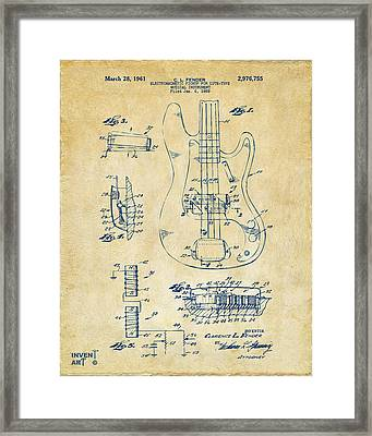 1961 Fender Guitar Patent Artwork - Vintage Framed Print by Nikki Marie Smith