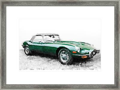 1961 Jaguar E-type Watercolor Framed Print by Naxart Studio