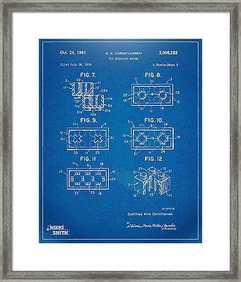 1961 Lego Brick Patent Artwork - Blueprint Framed Print by Nikki Marie Smith