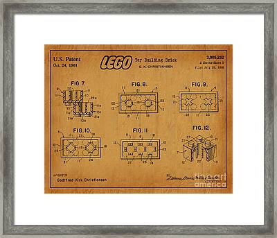 1961 Lego Building Blocks Patent Art 6 Framed Print by Nishanth Gopinathan