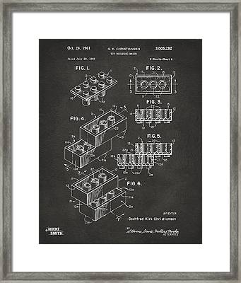 1961 Toy Building Brick Patent Art - Gray Framed Print by Nikki Marie Smith