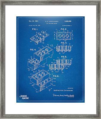 1961 Toy Building Brick Patent Artwork - Blueprint Framed Print by Nikki Marie Smith