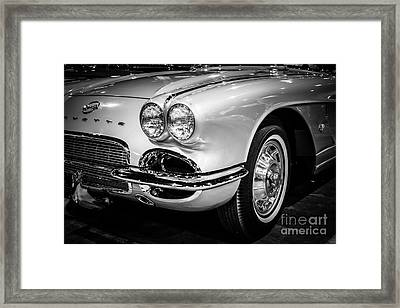 1962 Corvette Black And White Picture Framed Print by Paul Velgos