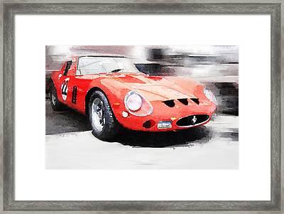 1962 Ferrari 250 Gto Watercolor Framed Print by Naxart Studio