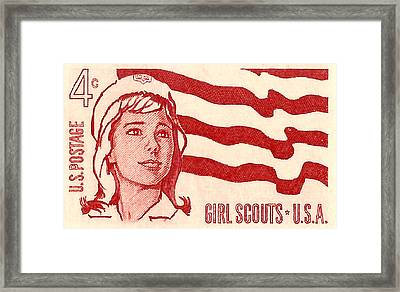 1962 Girl Scouts Of America Postage Stamp Framed Print by David Patterson