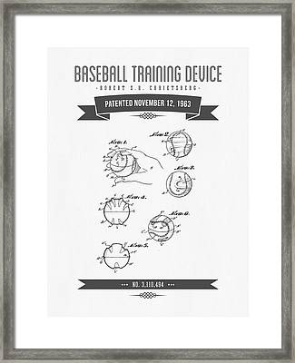 1963 Baseball Training Device Patent Drawing Framed Print by Aged Pixel