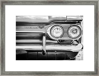 1963 Chevrolet Corvair Monza Spyder Headlight Emblem -0594bw Framed Print by Jill Reger