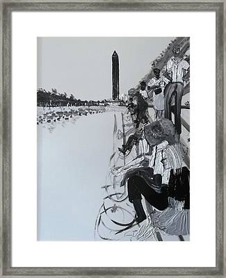 1963 D.c. Monument And Reflecting Pond Framed Print by Leslie Byrne
