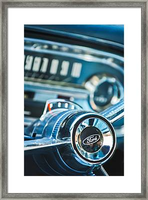 1963 Ford Falcon Futura Convertible  Steering Wheel Emblem Framed Print by Jill Reger