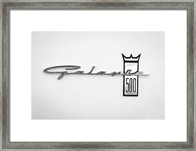1963 Ford Galaxie 500 R-code Factory Lightweight Emblem Framed Print by Jill Reger