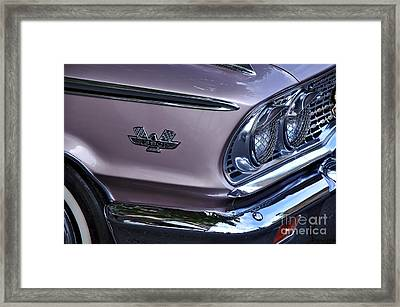 1963 Ford Galaxie Front End And Badge Framed Print by Kaye Menner