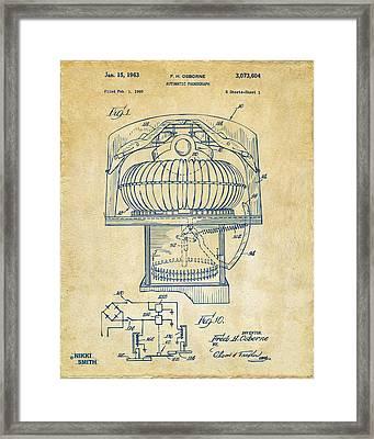 1963 Jukebox Patent Artwork - Vintage Framed Print by Nikki Marie Smith