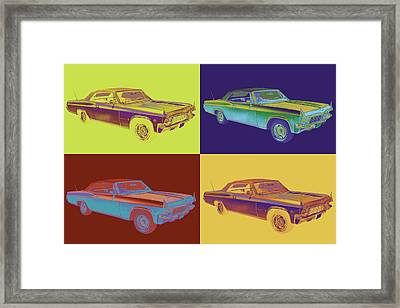 1965 Chevy Impala 327 Convertible Pop Art Framed Print by Keith Webber Jr
