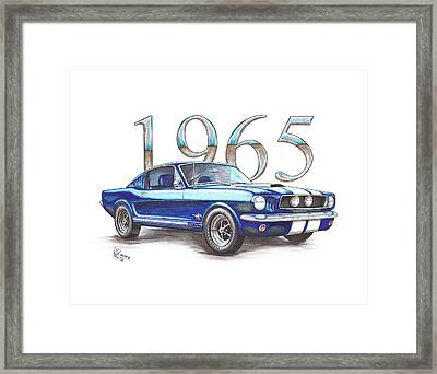 1965 Ford Mustang Fastback Framed Print by Shannon Watts