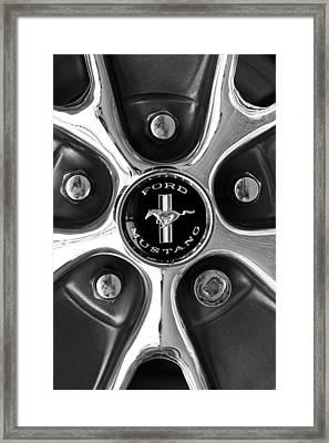 1965 Ford Mustang Gt Rim Black And White Framed Print by Jill Reger