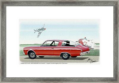 1966 Barracuda  Classic Plymouth Muscle Car Sketch Rendering Framed Print by John Samsen