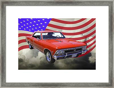 1966 Chevy Chevelle Ss 396 And United States Flag Framed Print by Keith Webber Jr