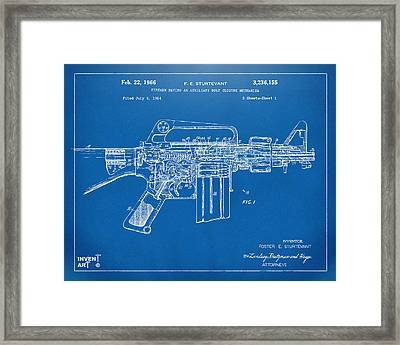 1966 M-16 Gun Patent Blueprint Framed Print by Nikki Marie Smith