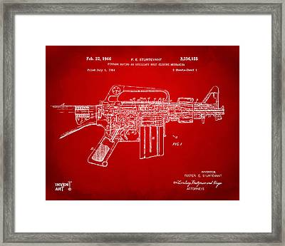 1966 M-16 Gun Patent Red Framed Print by Nikki Marie Smith