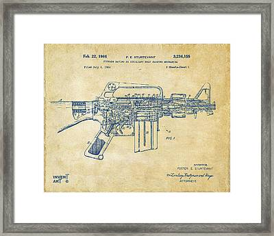 1966 M-16 Gun Patent Vintage Framed Print by Nikki Marie Smith