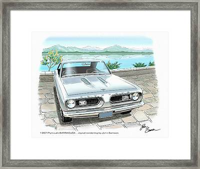 1967 Barracuda  Classic Plymouth Muscle Car Sketch Rendering Framed Print by John Samsen